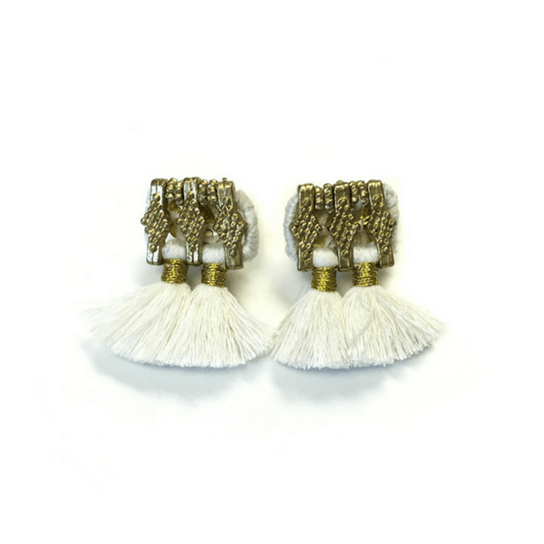White and Gold Tassel Earrings - Sugarboo and Co