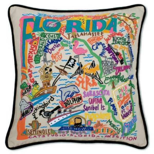Hand-Embroidered Pillow - Florida - Sugarboo and Co