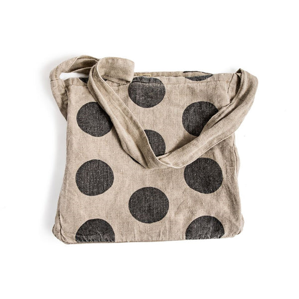 Polka Dot Canvas Messenger Bag