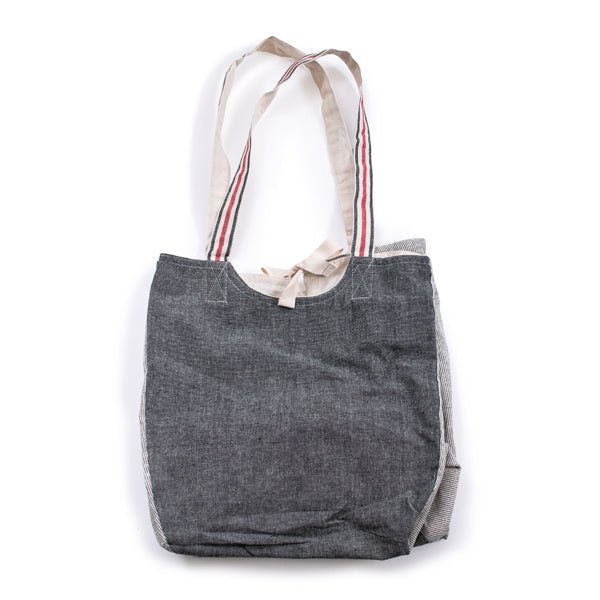 Two Tone Tote Bag with Stiped Handles