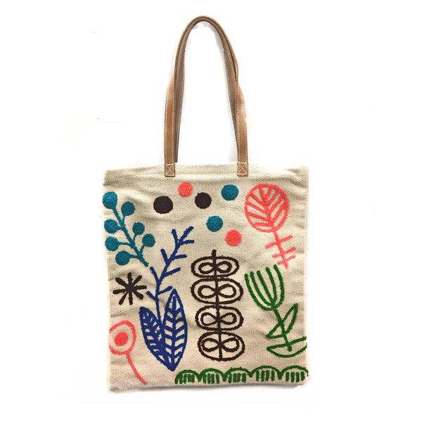 Colorful Symbols Embroidered Cotton Bag with Leather Handle
