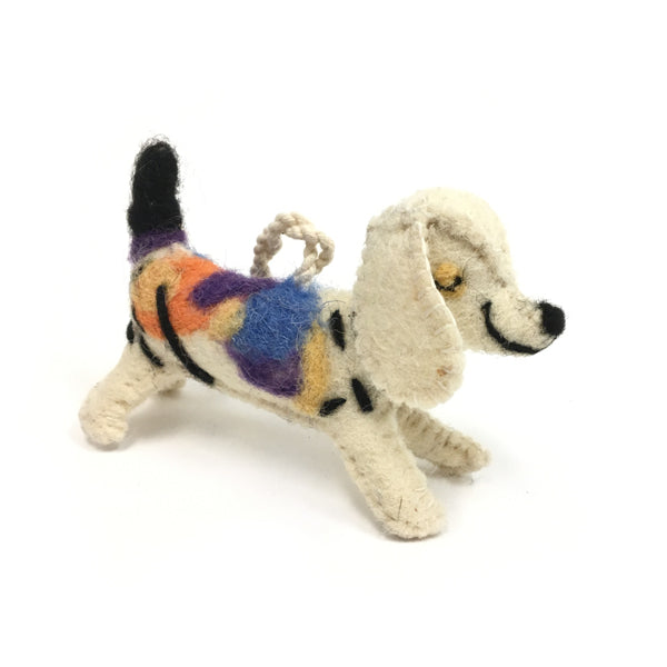 Felt Multi Colored Dog Ornament