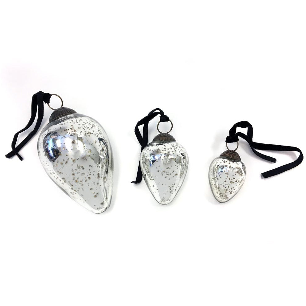 Oval Antiqued Glass Ornament (3 sizes)