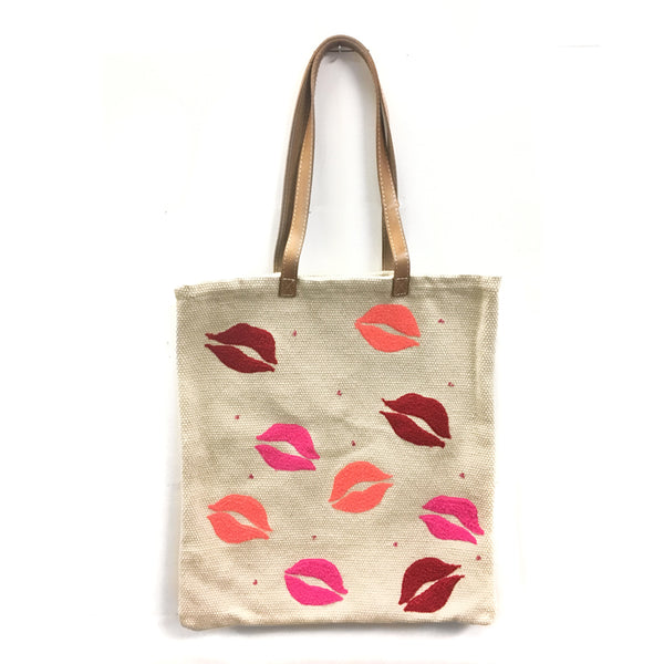 Lips Embroidered Cotton Bag with Leather Handle