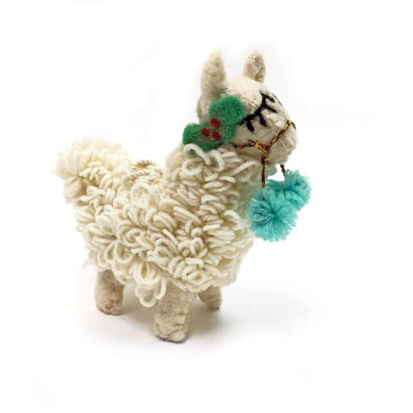 Felt Wooly Llama with Holly and Pom Poms