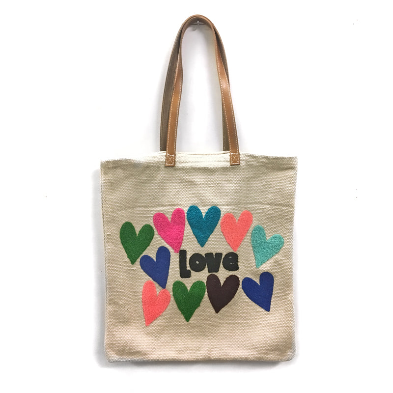 Colorful Love and Hearts Embroidered Cotton Bag with Leather Handle