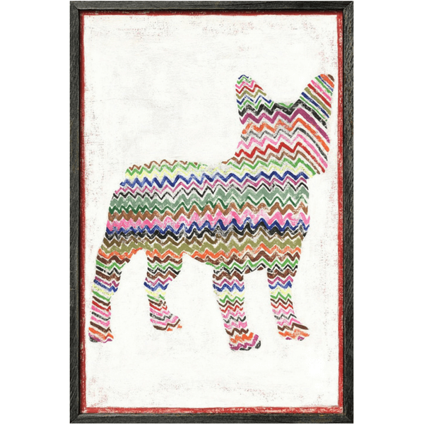 Multicolor zig-zag frenchie on a white background.