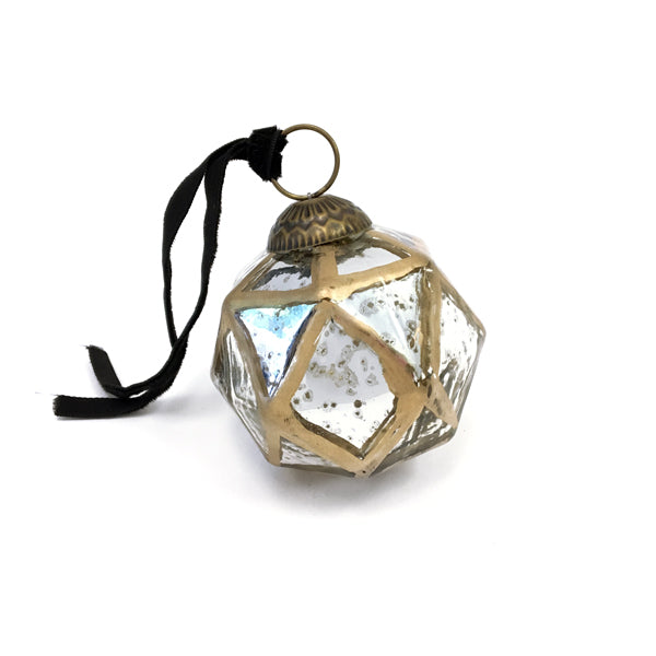 Hexagon Antiqued Glass Ornament