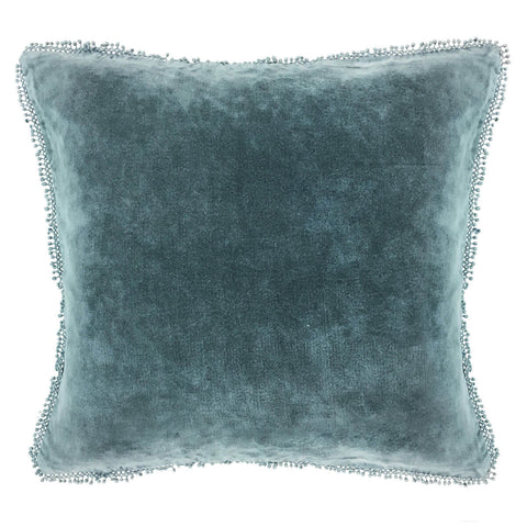 Velvet pillow with pom poms - Sugarboo Designs - Indigo