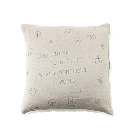 What A Wonderful World Embroidered Pillow from Sugarboo & Co.