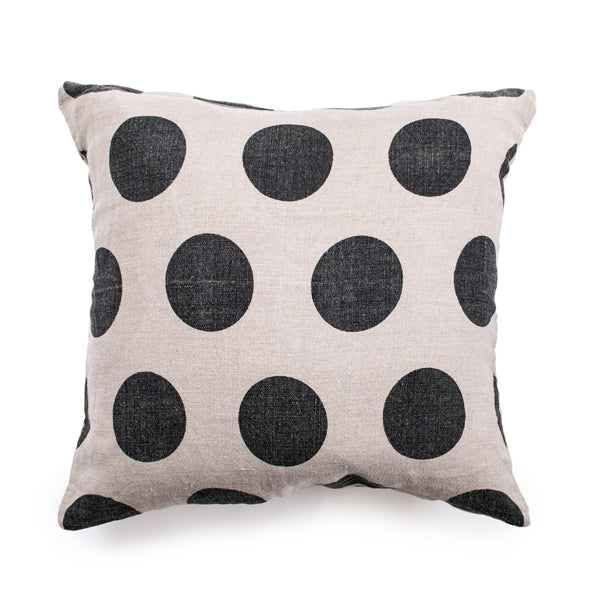 Reversible Polka Dot Distressed Canvas Pillow