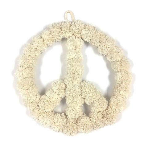 Pom Pom Peace Sign Wreath