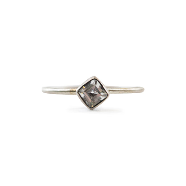 Silver Ring with Square Stone (Four Sizes)