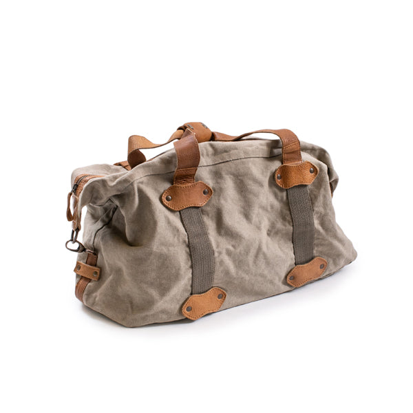 Mens Khaki and Leather weekend Duffle Bag