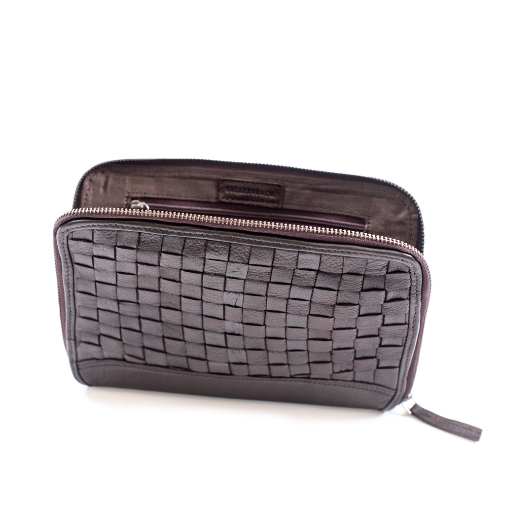Woven Leather Wallet with Strap (2 styles)
