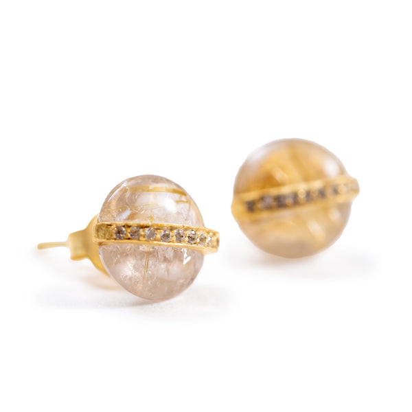 Gold Rutile Quartz and White Topaz Vintage Stud Earrings