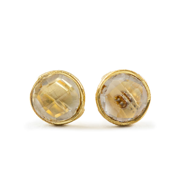 Crystal Quartz Gold Stud Earrings