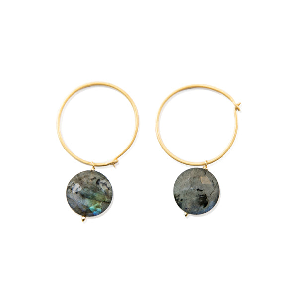Labradorite Gold Hoops