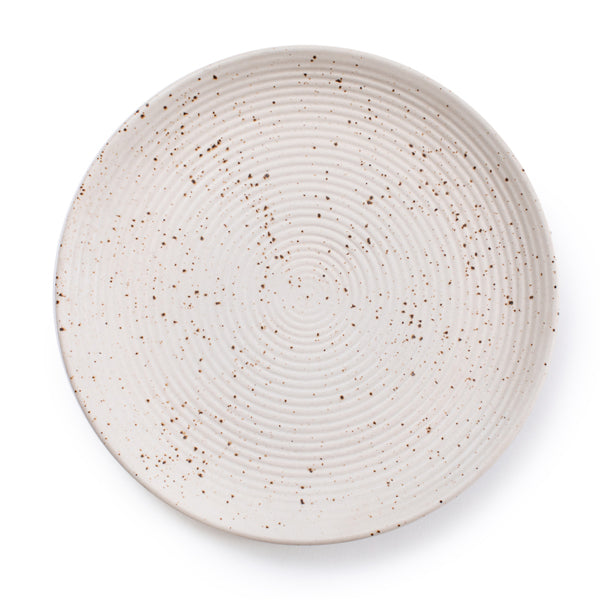 Large Ribbed Ceramic Speckled Plate