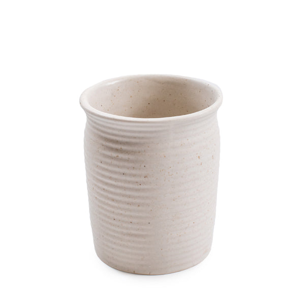 Ribbed Ceramic Speckled Utensil Jar
