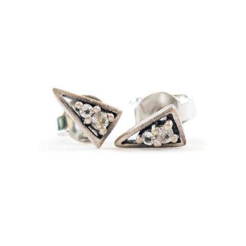 Silver Triangle Studs with Stones