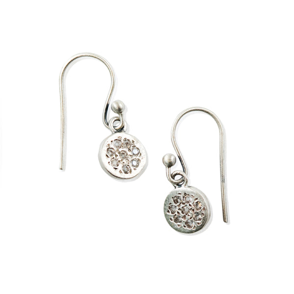 Silver Dangle with Circle Pave Pendant Earrings