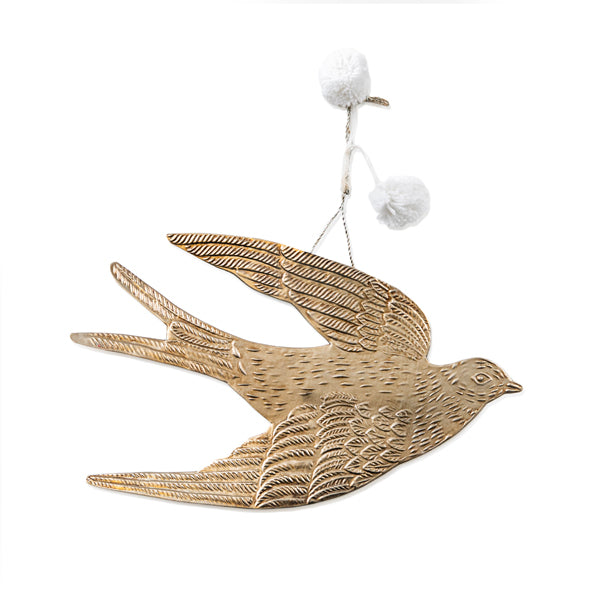 Iron Antique Silver Bird Wall Hanging