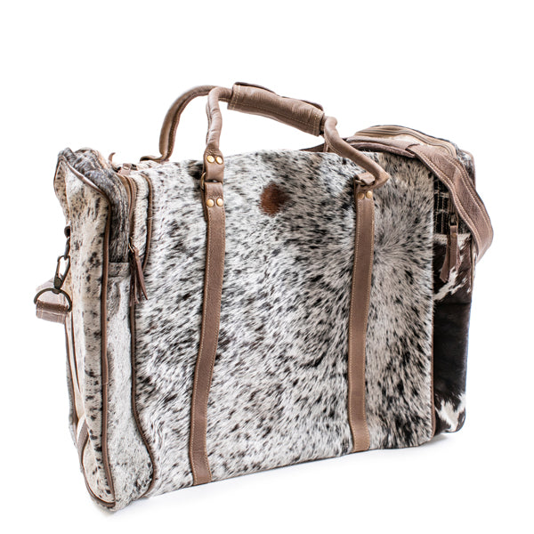 White and Black Spotted Fur Duffle Bag