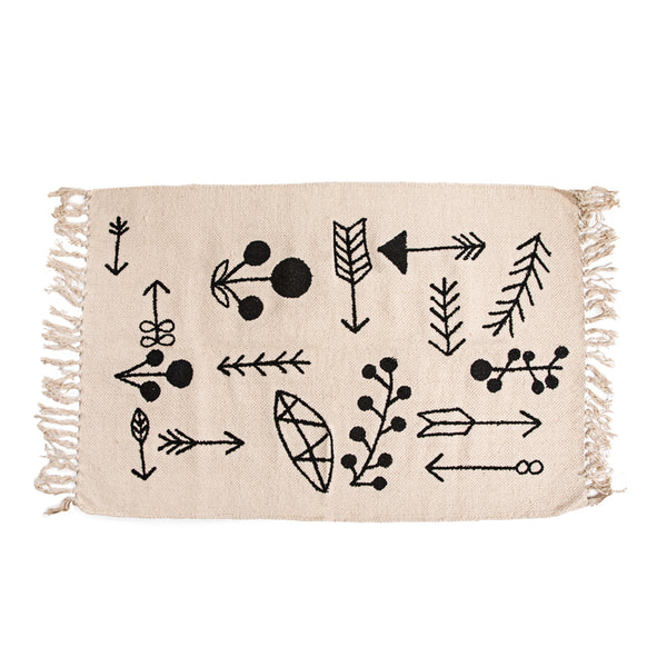 Arrow Embroidered Cotton Rug