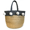 Jute color block pom pom basket