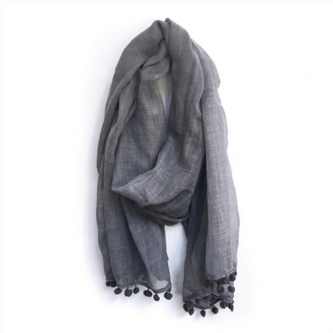 Smokey Blue Scarf with Pom Poms - sugarboo and co