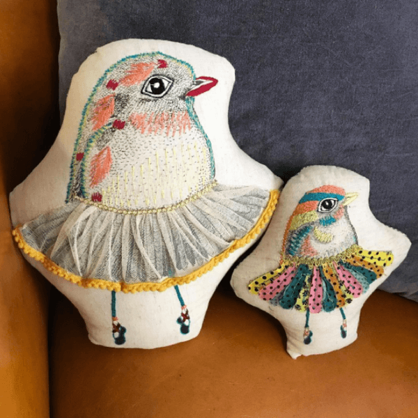 Small Dancing Bird Pillow - Sugarboo Designs