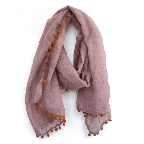 Pink Scarf with Orange Pom Poms - Sugarboo and Co