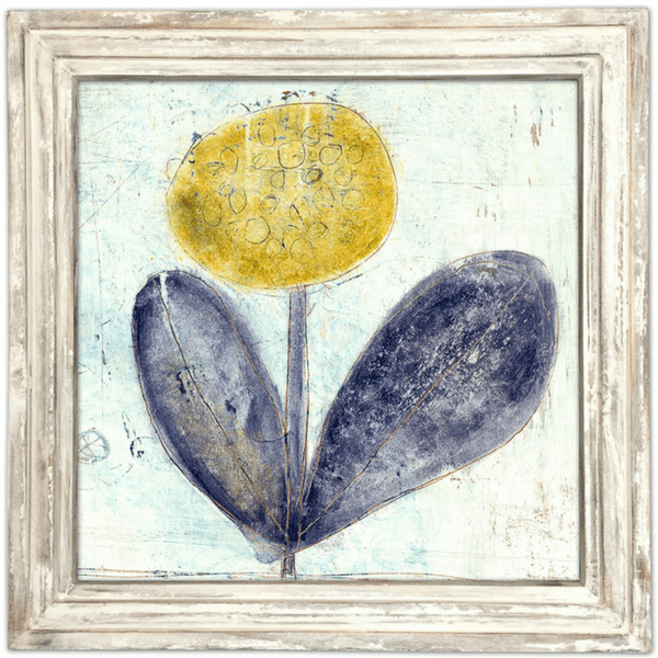 Yellow Flower with Purple Leaves - Sugarboo and Co Art Print - White Wash Frame
