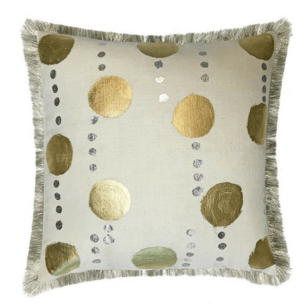 Linen Pillow with Gold Dots and Fringe - Sugarboo Designs