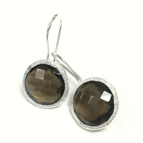Round Smoky Quartz Drop Earrings - Sugarboo and Co