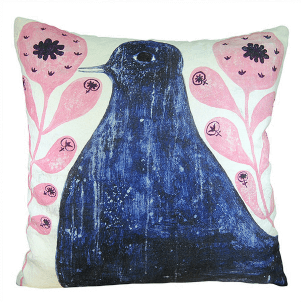 Black Bird in Flowers - Sugarboo and Co Pillow