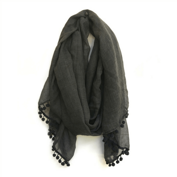 Charcoal Scarf with Pom Poms - Sugarboo and Co