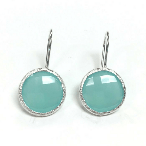 Round Aqua Chalcedony Earrings - SB&Co