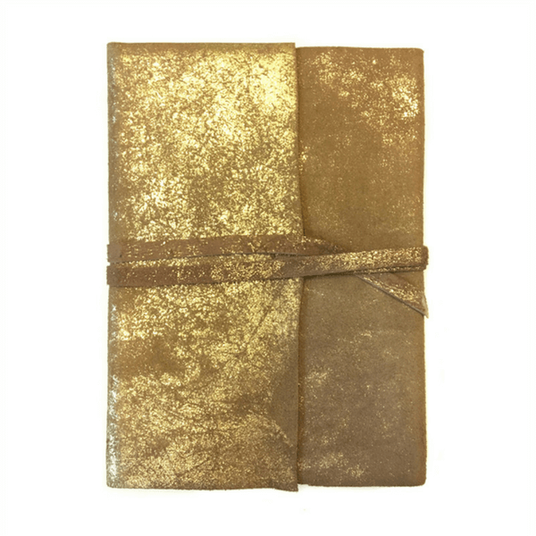 Leather Gold Foil Wrap Journal - Sugarboo and Co