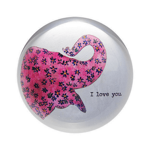 Pink Elephant - I Love You - Sugarboo and Co Paperweight