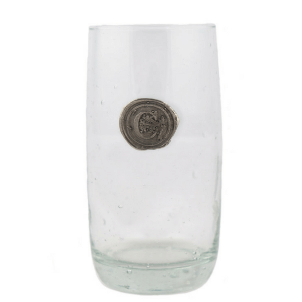 Ice Tea Pewter Initial Glass (Set of 4)