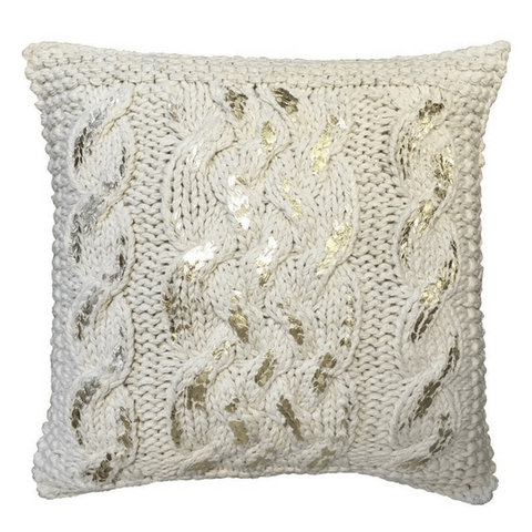 Square gold and beige knit pillow - Sugarboo and Co