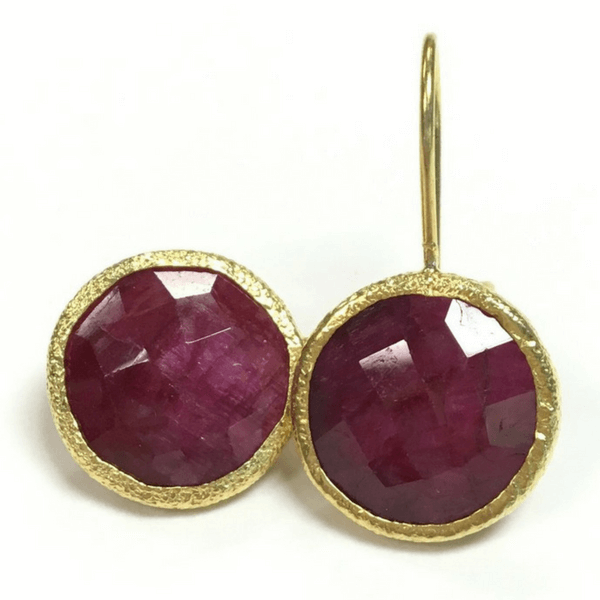 Round Red and Gold Drop Earrings