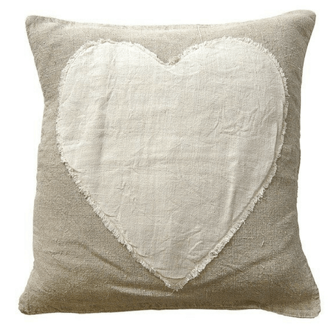 Heart Stitched Linen Pillow - Sugarboo and Co
