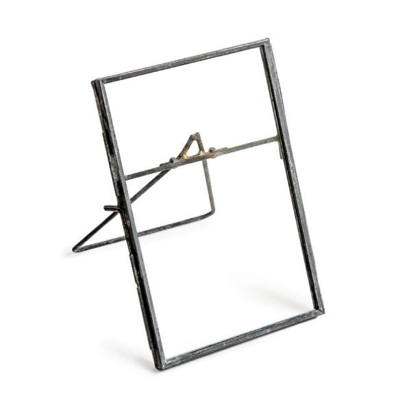 Zinc Metal Rustic Vertical Vintage Standing Picture Frame with Stand