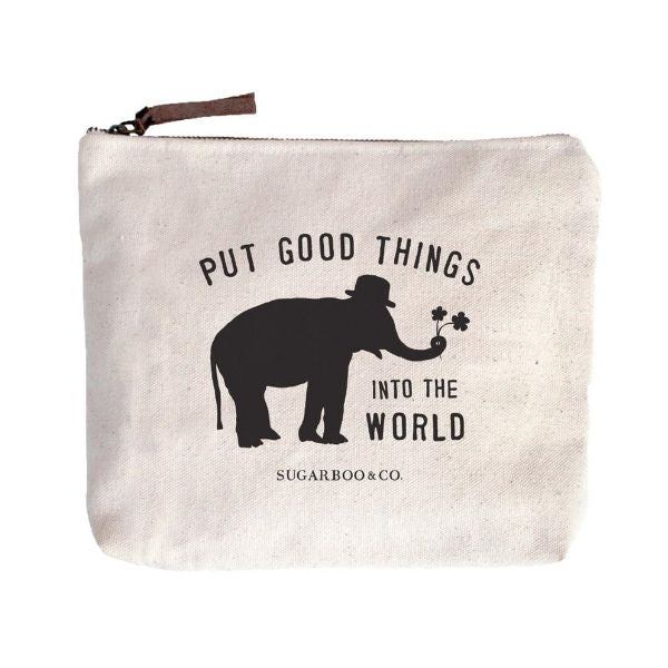 Put Good Things Into The World canvas zip bag