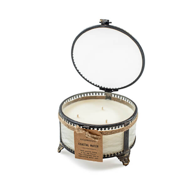 Sugarboo & Co. candle in reusable victorian style glass powder box