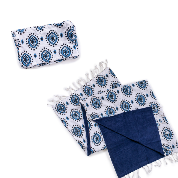 Organic Eye design Cotton Towel and Pouch Set