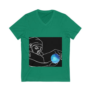 Girl Holding a Planet T-shirt